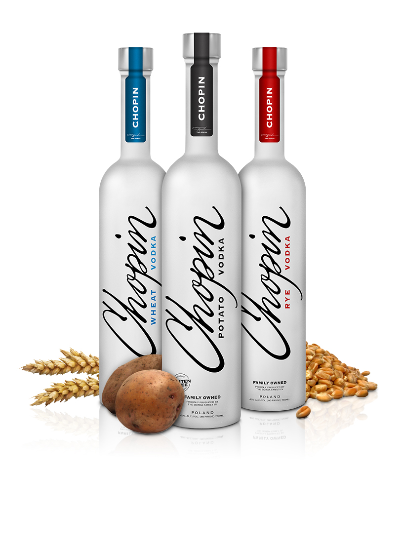 Vodkas with raw ingredients
